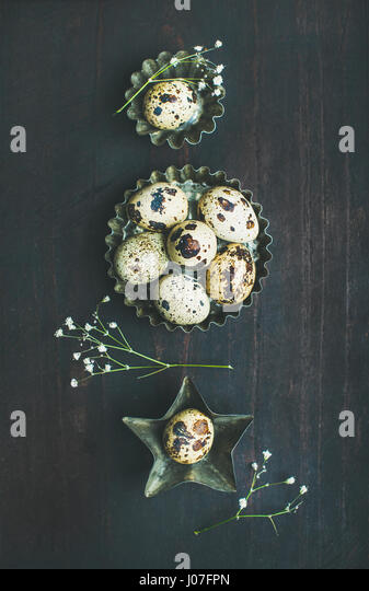 Quail eggs in metal molds and dried flowers for Easter - Stock Image