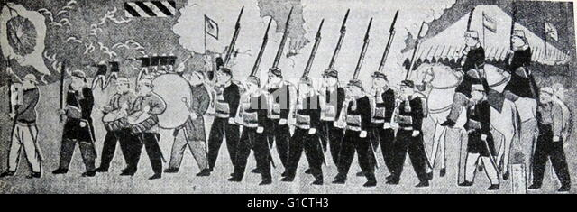 Japanese Imperial Army under French training; Japan 1870 - Stock Image