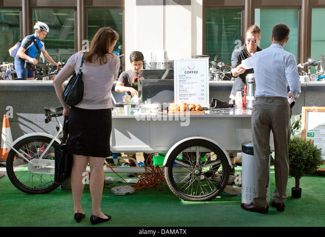 office coffee cart. City Of London Office Workers Buy Coffee From A Bicycle Cart - Stock Image