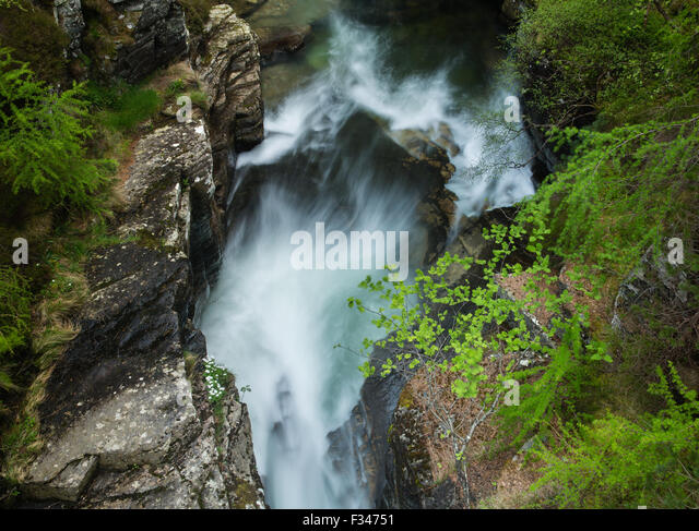 the Earl of Mar's Punch Bowl at the Lin of Quoich, Deeside, Aberdeenshire, Scotland, UK - Stock-Bilder
