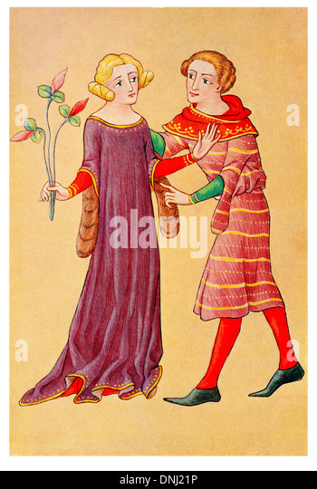 English Lady and youth talking Late 14th Century - Stock-Bilder