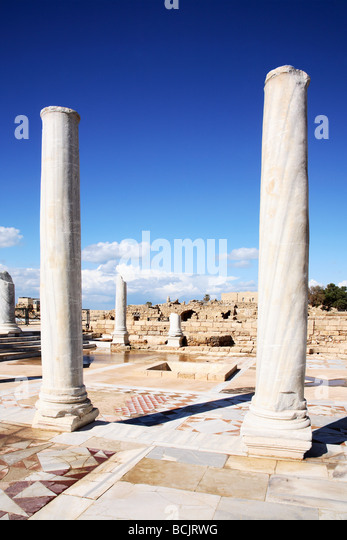 Roman columns and mosaics at caesarea israel - Stock Image