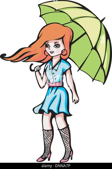 Young girl with umbrella. Color vector illustration. - Stock Image