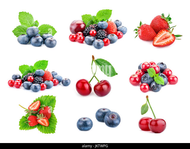 Berry theme mix composed of different images. - Stock Image