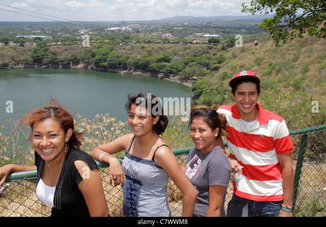 Managua Nicaragua Loma de Tiscapa national historic park Parque Historico La Sombra de Sandino volcano crater caldera - Stock Image