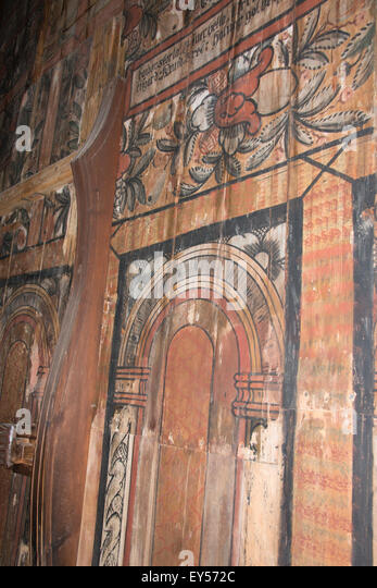 Norway, Oslo, Norsk Folk Museum (aka Norsk Folkemuseum). Historic wooden Stave Church from Gol, c.1200. Interior. - Stock Image