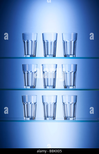 Glasses of drinking water - Stock Image