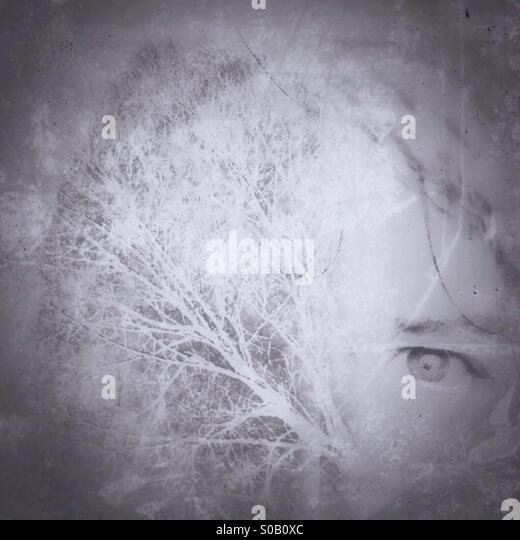 Double exposure tree face - Stock Image