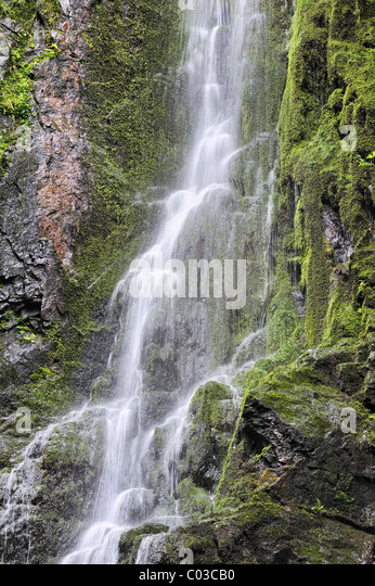 Burgbachwasserfall waterfalls, 15m height, geological monument, near Schappbach, Freudenstadt, Baden-Wuerttemberg - Stock Image