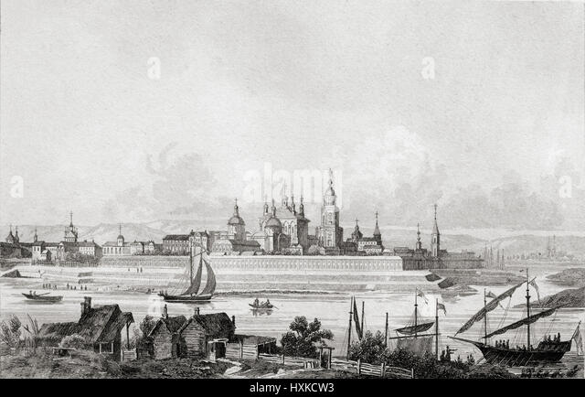 Tver, Russia. 19th century steel engraving by Danvin, Cholet and Lemaitre direxit. - Stock Image