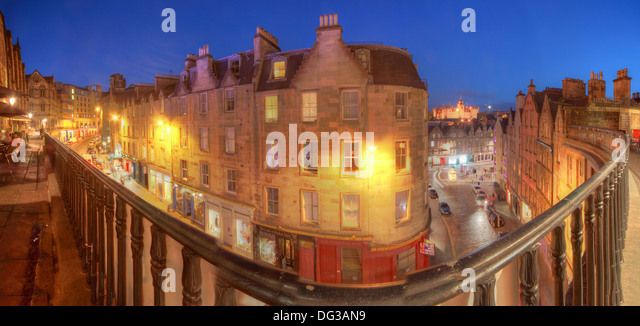 Panorama above Victoria Street Edinburgh City Scotland UK at dusk Night Shot - Stock Image