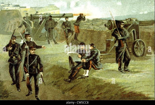 War of1870, Siege of Paris: The Paris  National Guard defending the ramparts - Stock Image