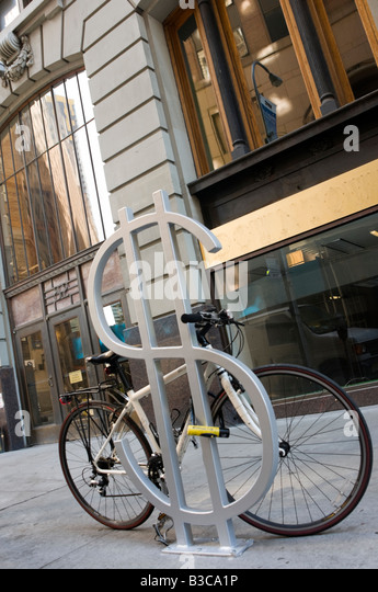 One of nine bicycle racks designed by David Byrne entitled The Wall Street on Wall Street in Lower Manhattan ©Stacy - Stock Image