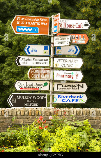 Road sign post at Ramelton County Donegal, Ireland - Stock Image