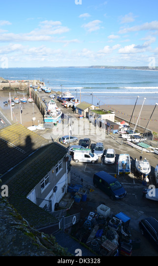Newquay harbour from above number 3423 - Stock Image