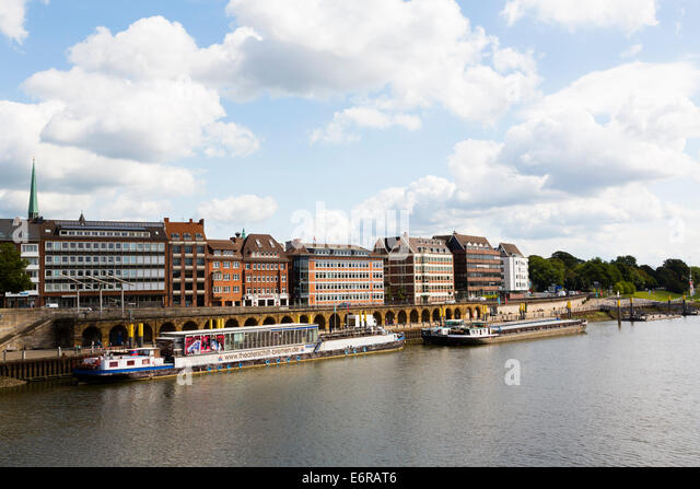 Theatre ship moored at the Schlachte embankment, Bremen, Germany - Stock Image