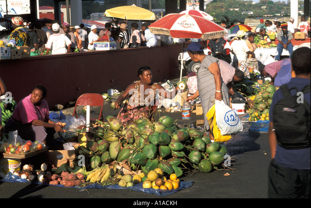 St Lucia Castries saturday market - Stock Image