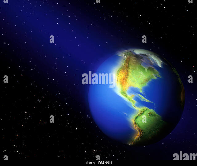 Earth Spinning Among Stars in Space - Stock Image