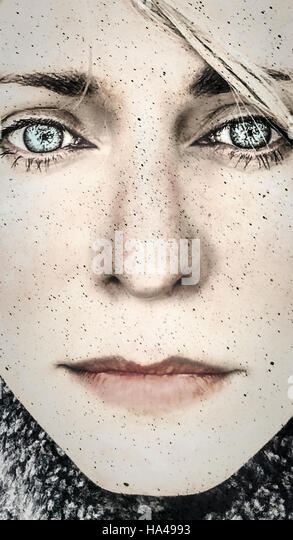 portrait , close up face of the young emotional woman - Stock Image