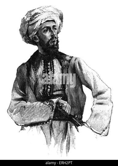 Bayard Taylor, wearing Arab dress. American poet and travel writer. 11 January 1825 ? 19 December 1878. - Stock-Bilder