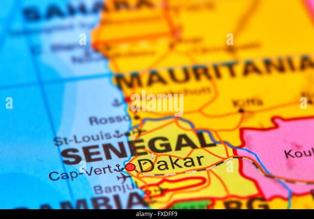 Dakar, Capital City of Senegal in Africa on the World Map - Stock Image