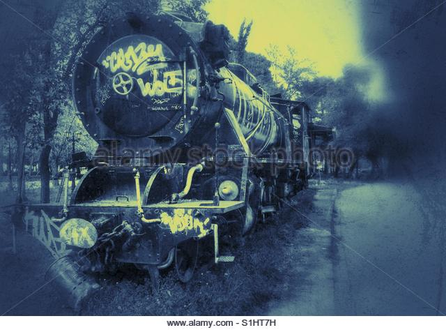 old Train in a park - Stock Image