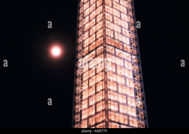 Washington Monument with scaffolding in Washington D.C. - Stock Image