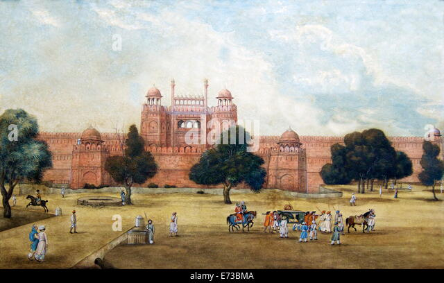 Painting of Red Fort, 19th century, Archaeological Museum, Red Fort, Delhi, India, Asia - Stock Image