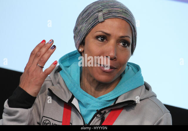 ​​​London, UK 24 April 2016.  Dame Kelly Holmes during the Virgin Money London Marathon winners press conference.​ - Stock Image