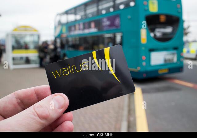 merseytravel walrus card travel smartcard at bus stop - Stock-Bilder