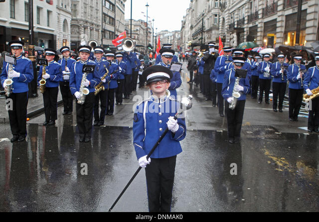 London,UK,1st January 2014,Essex marching Corps from Benfleet took part in the London's New Year's Day Parade - Stock Image