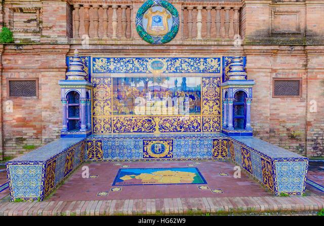 Glazed tiles bench of spanish province of Vizcaya at Plaza de Espana, Seville, Spain - Stock Image