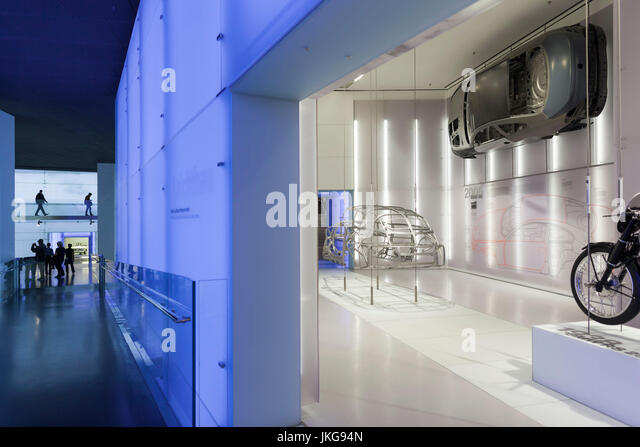 Germany, Bavaria, Munich, BMW Museum, display of early lightweight aluminum car frame - Stock Image