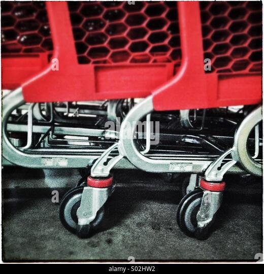 Supermarket shopping carts - Stock Image