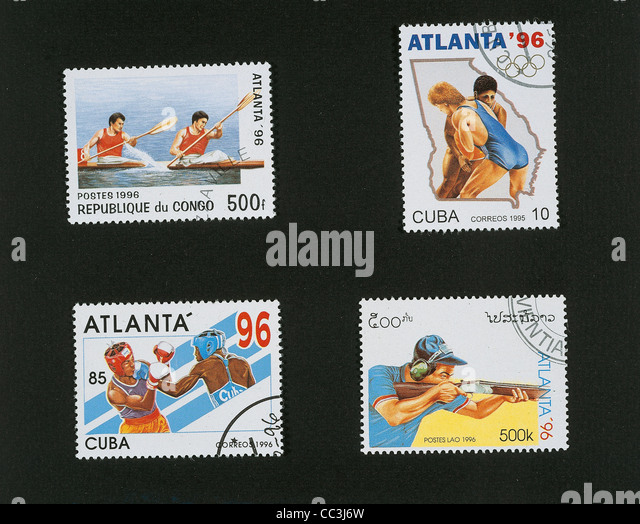 Twentieth Century Stamp Stamps Dedicated To 1996 Olympic Games In Atlanta Specialty Congo 1993 Canoe 'K2 Fight - Stock-Bilder