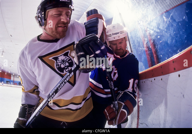 Ice hockey players checking. - Stock Image