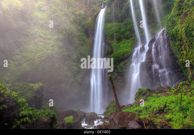 Indonesia, Bali, Central Mountains, Sekumpul Waterfall - Stock Image