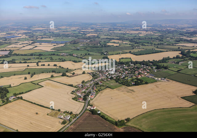 An aerial view of the village of Bradford-on-Tone and surrounding Somerset countryside - Stock Image
