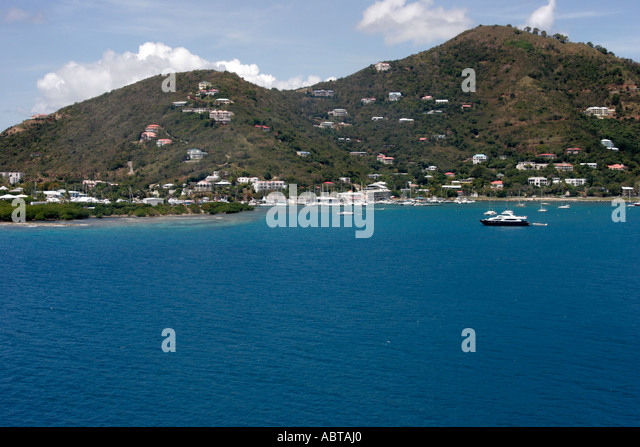 BVI Tortola Road Town Road Bay Caribbean Sea Sir Francis Drake Channel - Stock Image