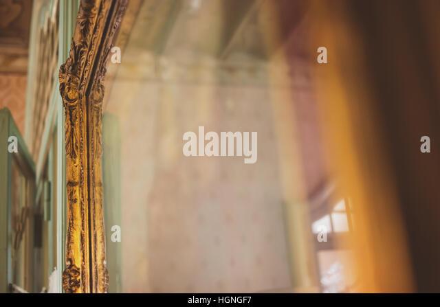 Mirror in old gilded frame. - Stock-Bilder