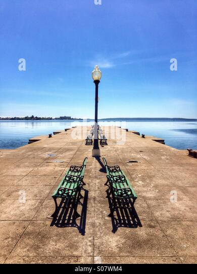 Quayside in Cienfuegos harbour Cuba. - Stock Image