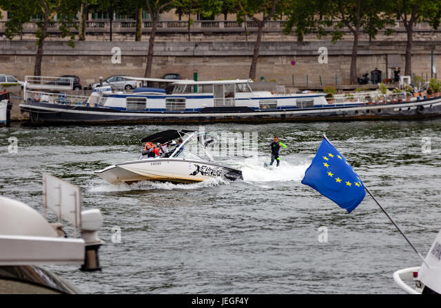 Paris, France. 24th Jun, 2017. Athlete pratctising wakeboard on Seine river during the Paris Olympic Games 2024 - Stock Image