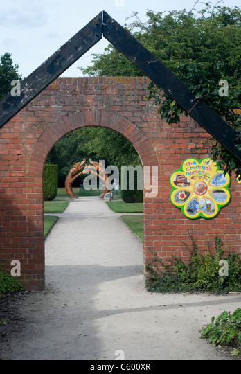 Entrance to the children's garden at Rufford Country Park, Nottinghamshire, England, UK. - Stock Image
