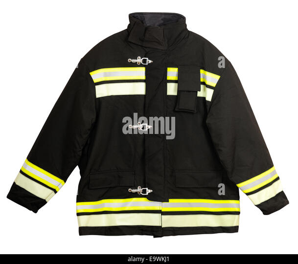 Fire Turnout coat isolated on white background - Stock Image