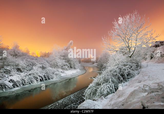 River Lagan in sub zero tempertures. - Stock Image