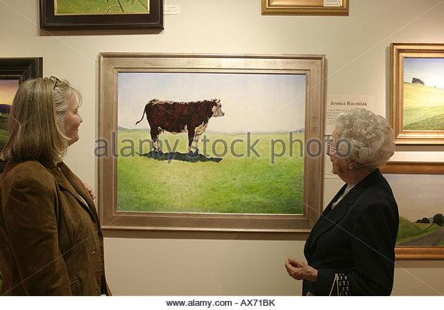 West Virginia Lewisburg Cooper Gallery original contemporary art painting steer - Stock Image