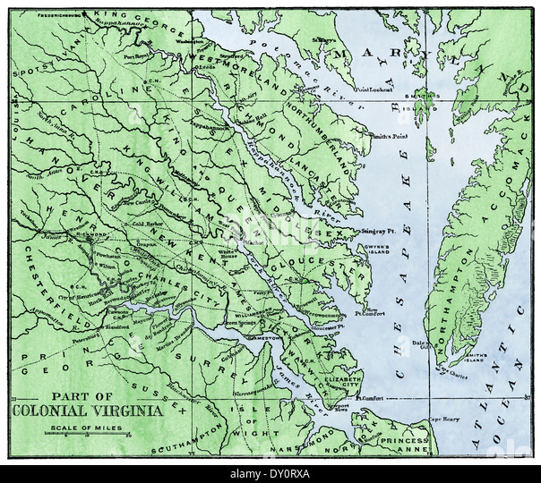 Map of the eastern part of colonial Virginia, 1700s. - Stock Image