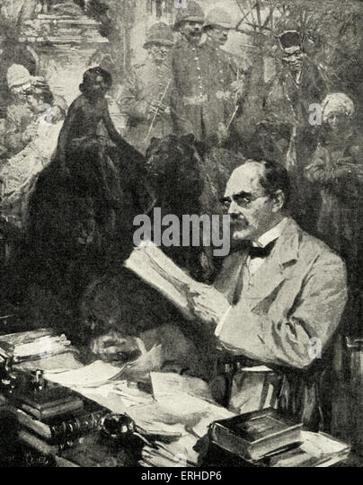 Rudyard Kipling - portrait with glasses, reading a manuscript, surrounded by his creations (Mowgli, Baloo the bear, - Stock-Bilder