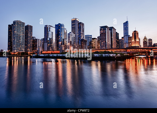 Chicago skyline - from the Navy Pier at sunset - Stock Image