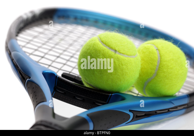 Tennis racket and balls - Stock Image